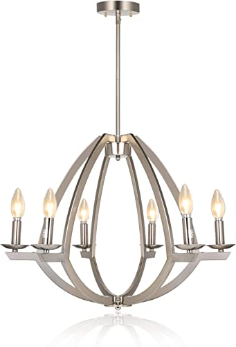 6-Light Chandelier, Contemporary Dining Room Pendant Lighting Fixture, Brushed Nickel Finish, 17.63 H x 23 W