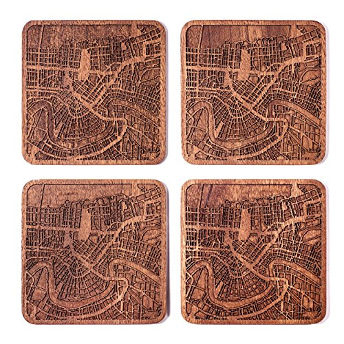New Orleans Map Coaster by O3 Design Studio, Set Of 4, Sapele Wooden Coaster With City Map, Handmade