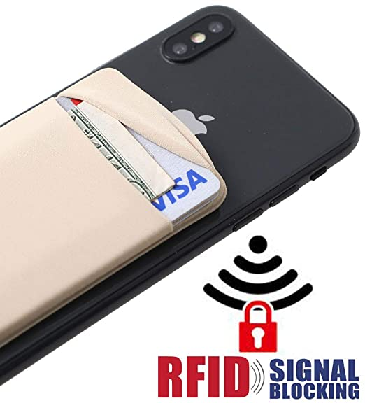 5de9833c7792 [Double Secure] RFID Lid Credit Card Holder Stick on Wallet Discreet ID  Holder Lycra Spandex Card Sleeves for Smartphones, iPhone Galaxy Cell Phone  ...