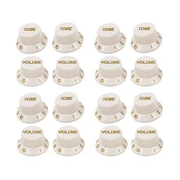 FLEOR 2T2 V/2t1 V guitarra eléctrica Volumen Tono Control conjunto de tiradores para estilo ST, color blanco con Golden Color de personajes, ...
