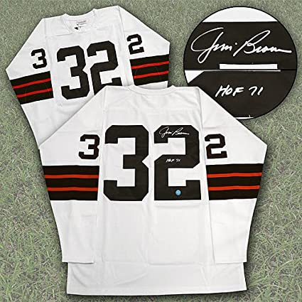 81b892cd Image Unavailable. Image not available for. Color: Jim Brown Cleveland  Browns Autographed Mitchell & Ness Football Jersey - Authentic Autographed  Autograph