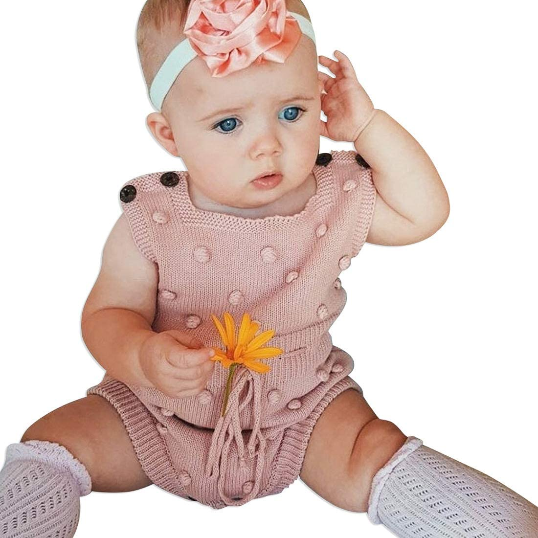 Simplee kids Baby Girl Kint Pompoms Romper Sleeveless Baby Girl Kint Clothes