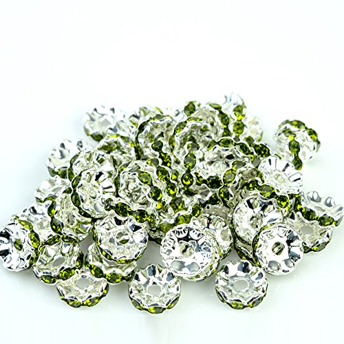 Olivine Rondelle Crystal (RUBYCA Top Quality 100pcs 10mm Wavy Rondelle Spacer Beads Silver Tone Olivine Czech)