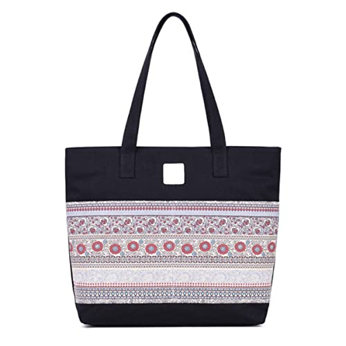 5ab04d381191 MM SS SHOP Hippie Boho Beach Bag Roomy Shoulder Travel Tote Casual  Bookbag(Black)