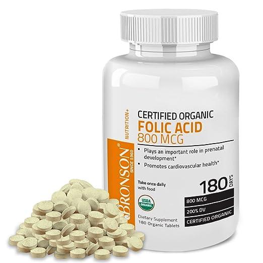 Bronson Organic Folic Acid, USDA Certified & Vegetarian, Ultimate Prenatal Vitamin, 180 Tablets