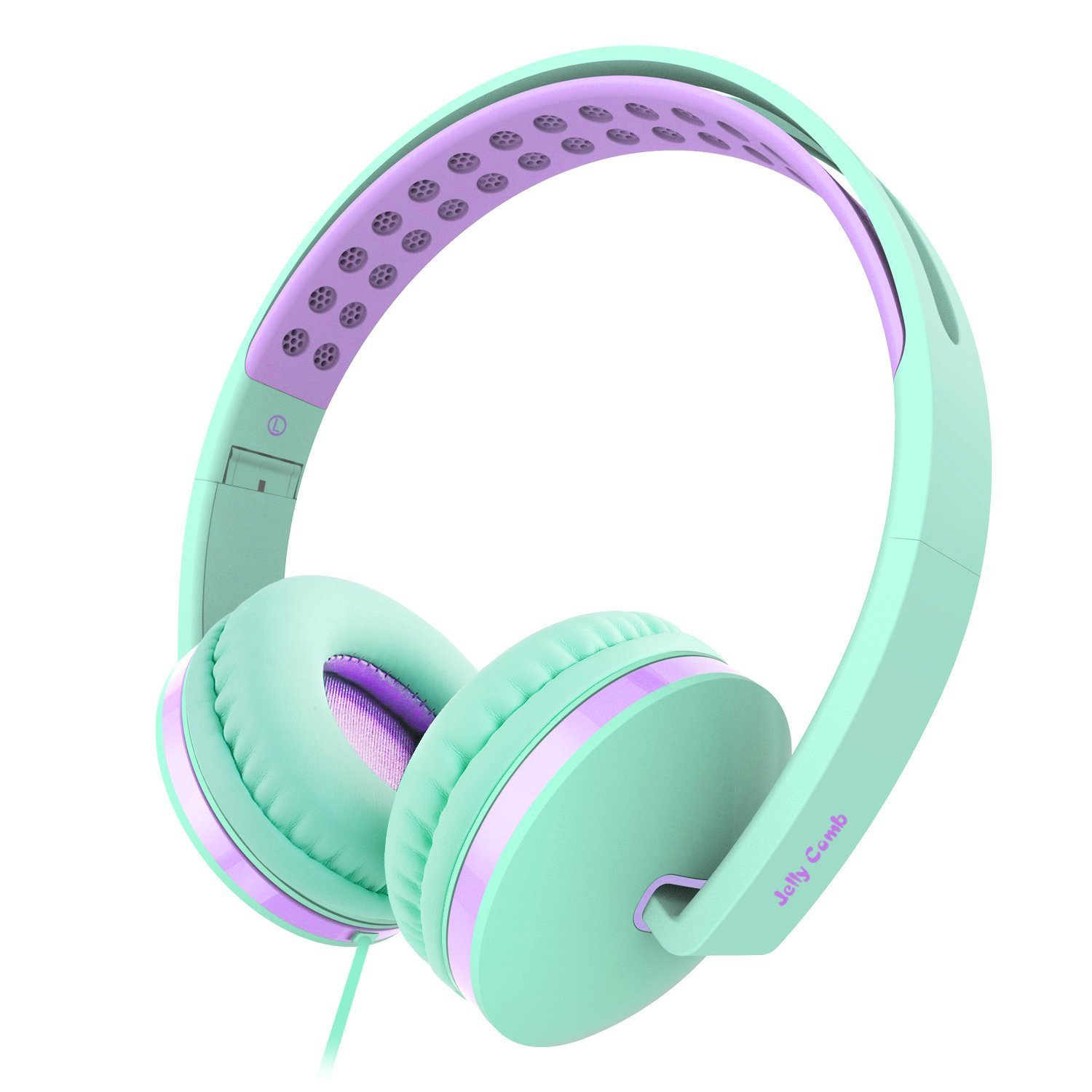 On Ear Headphones with Mic, Jelly Comb Foldable Corded Headphones Wired Headsets with Microphone, Volume Control for Cell Phone, Tablet, PC, Laptop, MP3/4, Video Game (Green & Purple) by Jelly Comb