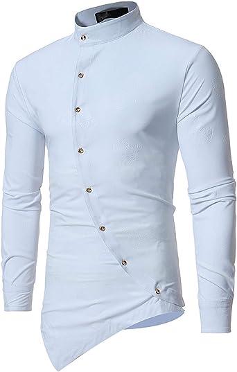 Lu Studio - Camisa de Esmoquin para Hombre, diseño de Flores, Color Blanco - Blanco - Small: Amazon.es: Ropa y accesorios
