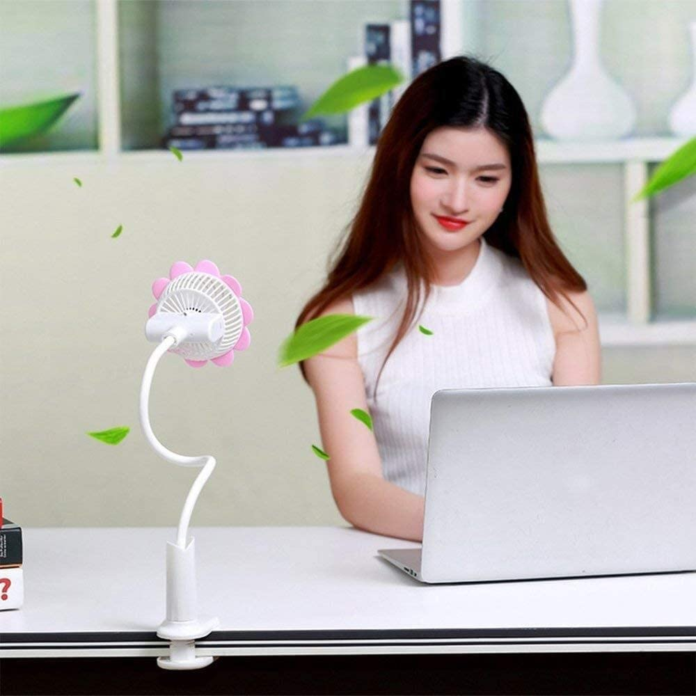 Color : Green, Size : 91252cm Mini Fan USB Cooling Fan Home Office Air Cooler Flexible Desktop Portable Cooling Fan Sun Flowers Shape GAOFENG