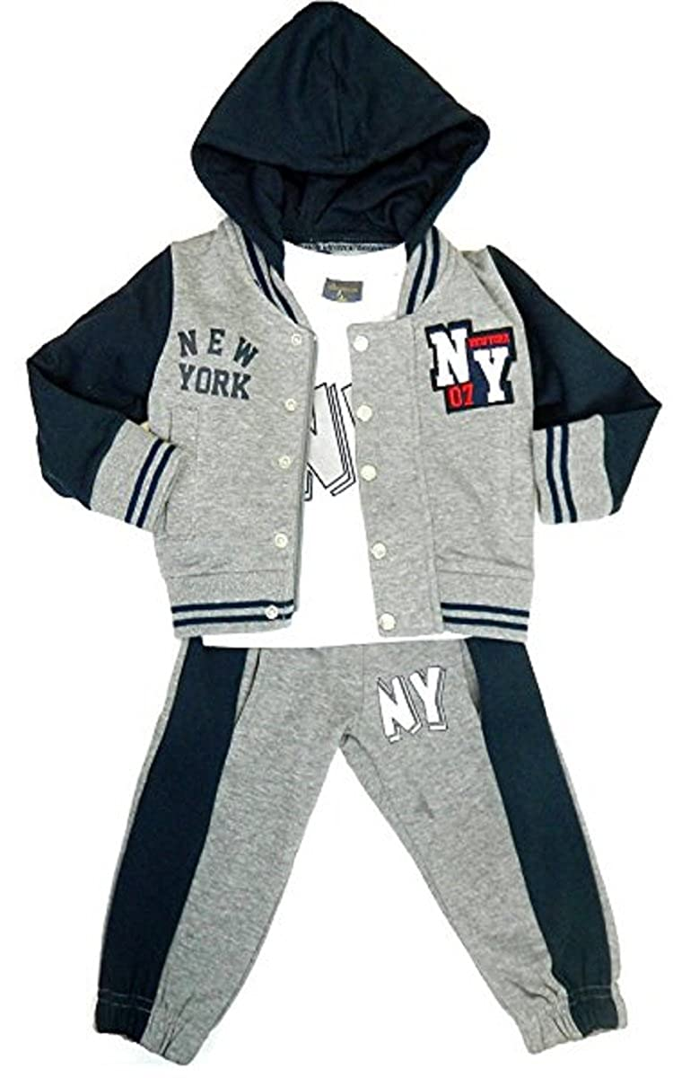 Fashion Oasis Baby Toddler Kids Boy's 3 Piece NY Hooded Tracksuit Jog Suit Navy/Grey With Pockets 6 Months To 8 Years