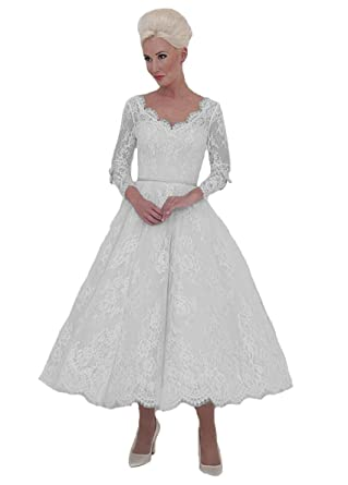 72b18d30012 Graceprom Women s Vintage 1950 s Tea Length Wedding Dress with Long Sleeves  Lace Appliques Bridal Gowns 2