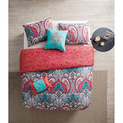 light blue and coral bedding - 8