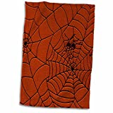 3dRose Two Spiders on a Web Drawing Pattern in Burnt Orange Towel, 15 x 22, Multicolor