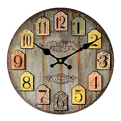 Vintage Wall Clock Rustic Shabby Chic Home Kitchen Wooden 30cm Decor #3