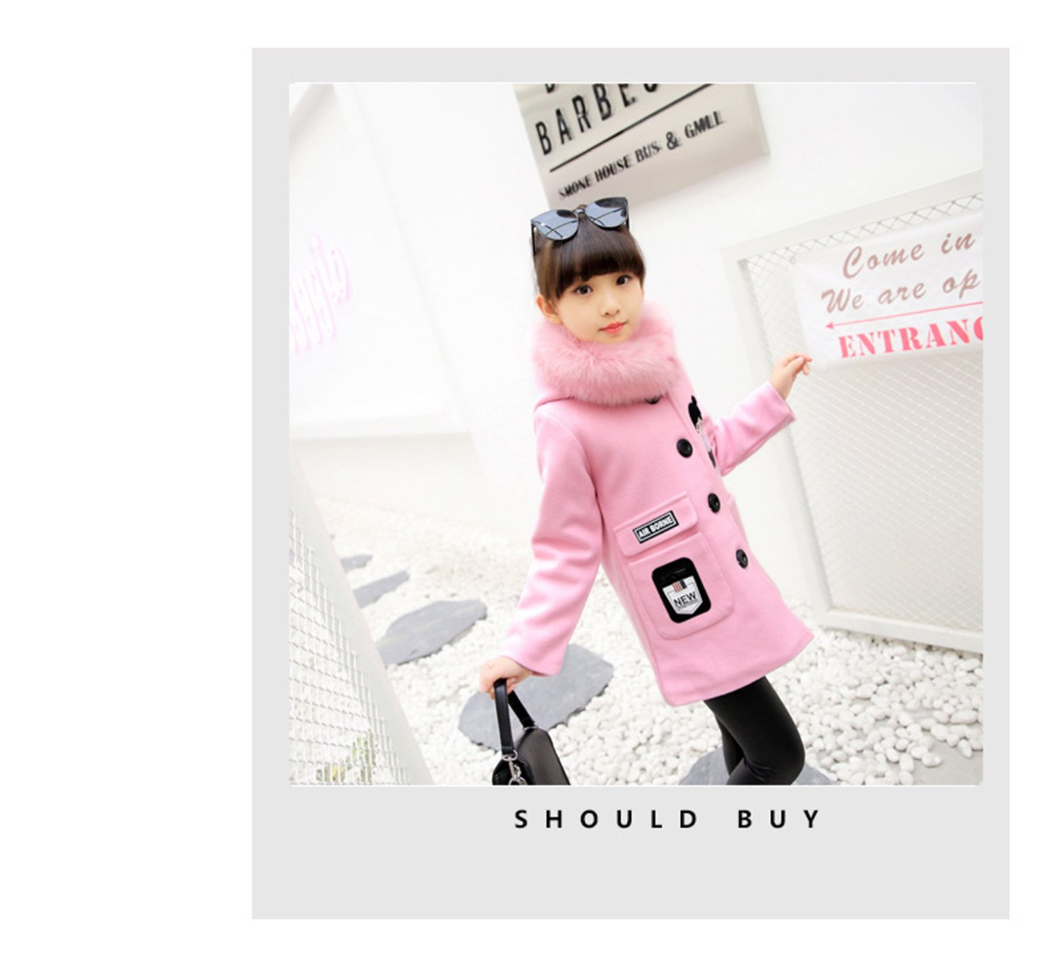 Euno Winter Girls' Fashion Thickening Detachable Fur Collar Coats and Hooded Coats Pink P120 by Euno (Image #2)
