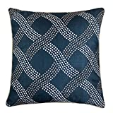 Homey Cozy Embroidery Throw Pillow Cover,Navy Series Dotted Line Decorative Square Couch Cushion Pillow Case 20 x 20 Inch, Cover Only