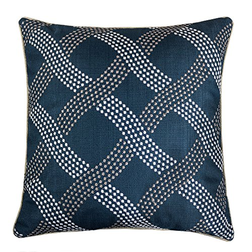 Homey Cozy Embroidery Throw Pillow Cover,Navy Series Dotted Line Decorative Square Couch Cushion Pillow Case 20 x 20 Inch, Cover Only by Homey Cozy