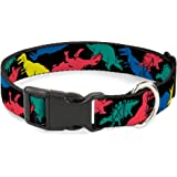 """Buckle-Down Plastic Clip Collar - Cute Dinosaurs Yellow/Green - 1/2"""" Wide - Fits 9-15"""" Neck - Large"""