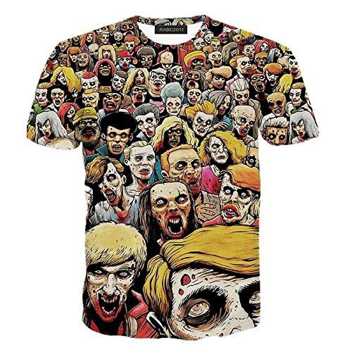 Rxbc2011 Men's Zombies 3D Print Short Sleeve T-Shirts XL Yellow