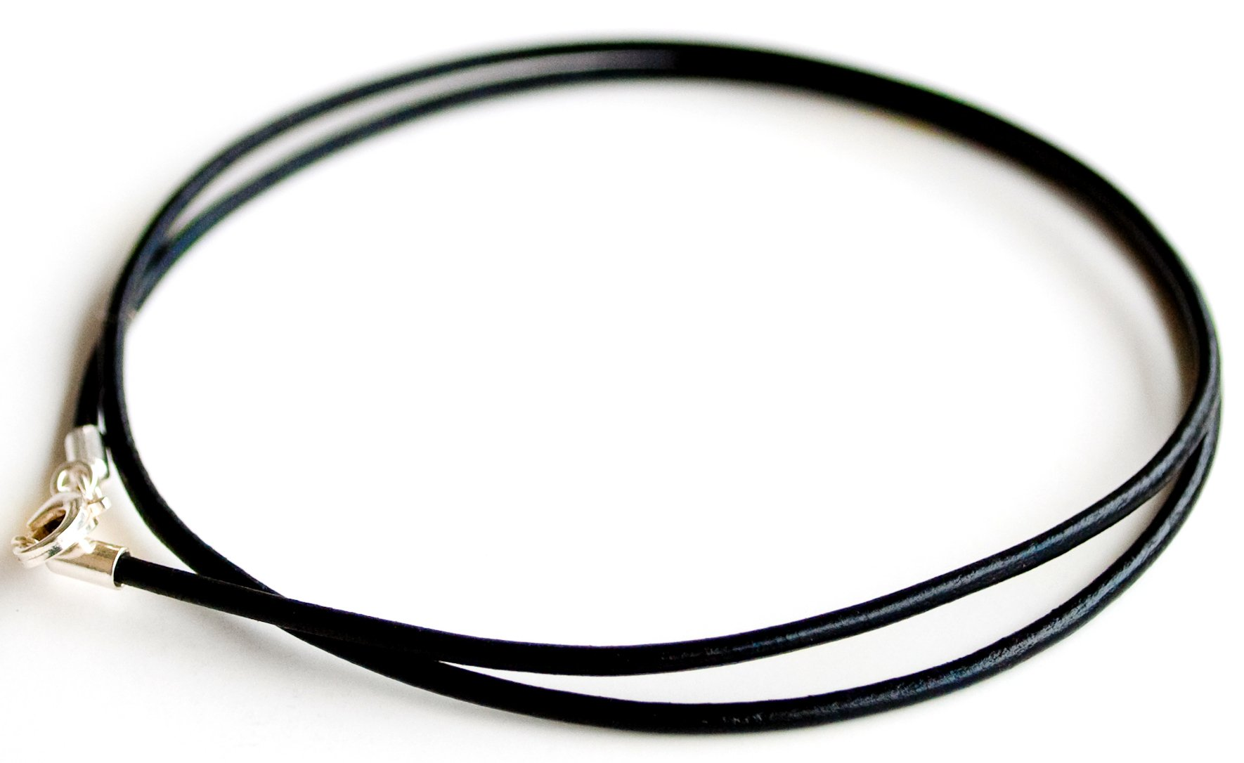 Black Genuine Greek Leather Cord Necklace, Sterling Silver Clasp, Multi-length Strap,
