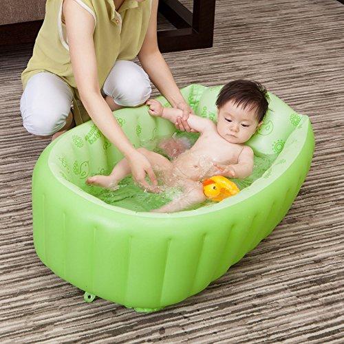 elegantstunning Inflatable Swimming Pool for Kid with Foot Air Pump,Shower Basin Baby Bathtub,90X45X28CM,Green