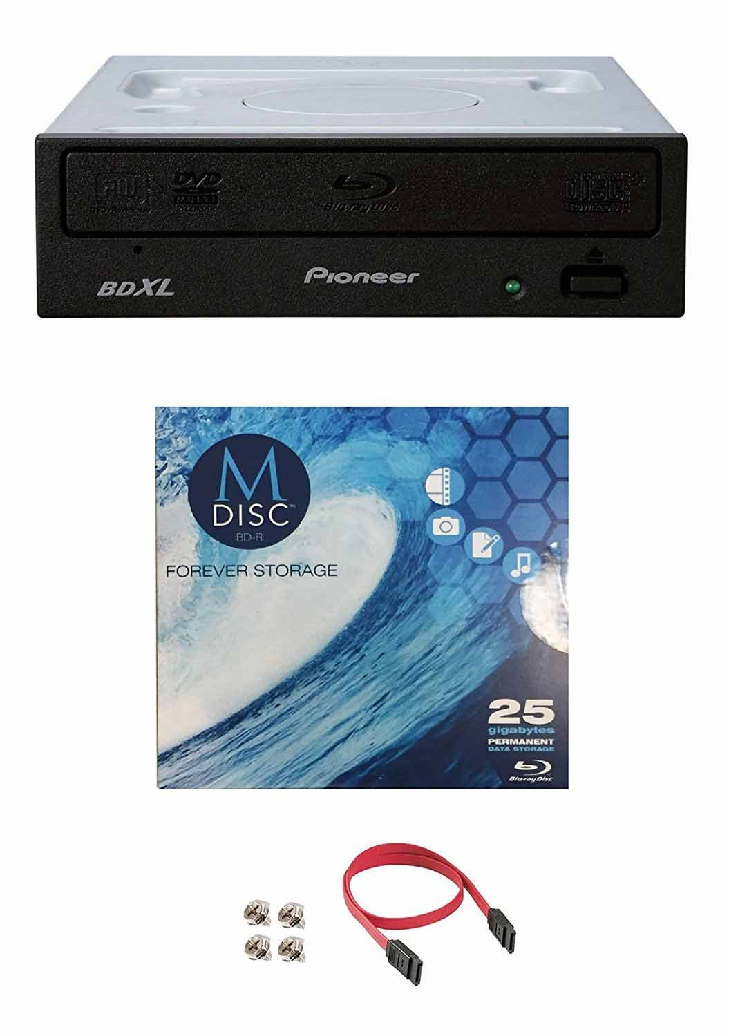 Pioneer 16x BDR-2209 Internal Blu-ray Burner Bundle with 1 Pack M-DISC BD and Cable Accessories (Supports BDXL, SATA Interface)