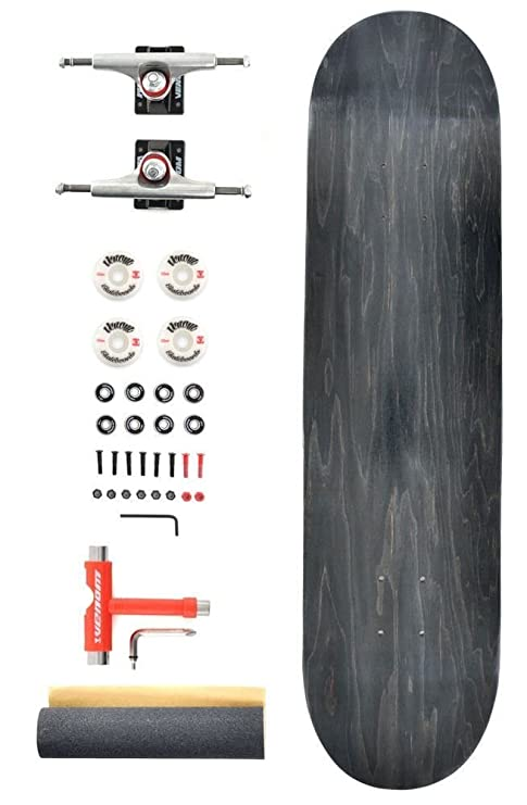 "Black Deck 8/"" Venom Custom Complete Skateboard Black Raw Trucks//ABEC 11"