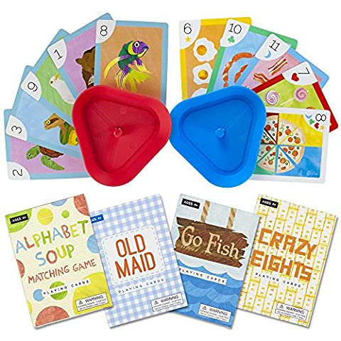 Set of 4 Classic Children's Card Games with 2 Hands-Free Playing Card Holders by Imagination - Game Card Holder