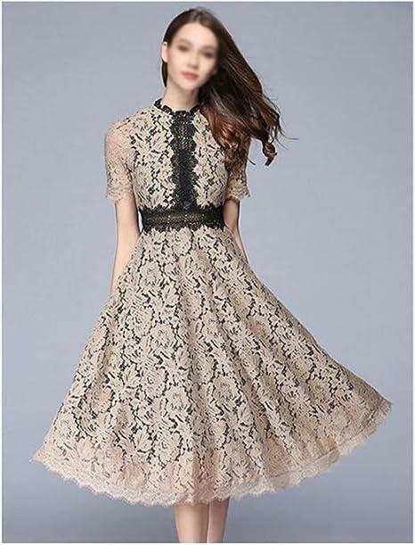 ZSRHH-Falda Vestido de Mujer Elegante Vestido de Encaje Calado de ...