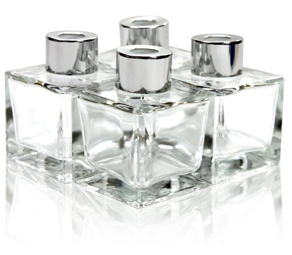 "Feel Fragrance Glass Diffuser Bottles with Silver Caps Refillable Diffuser Bottles Set of 4-2.5"" High, 50ml 1.7 fl oz. Small Square Shape, Diffuser Jars for Home Fragrance"