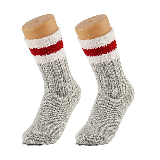 2f55ebae55e 2 Pairs Merino Wool Hiking Trekking Winter Thick Warm Boot Crew Socks for  Winter