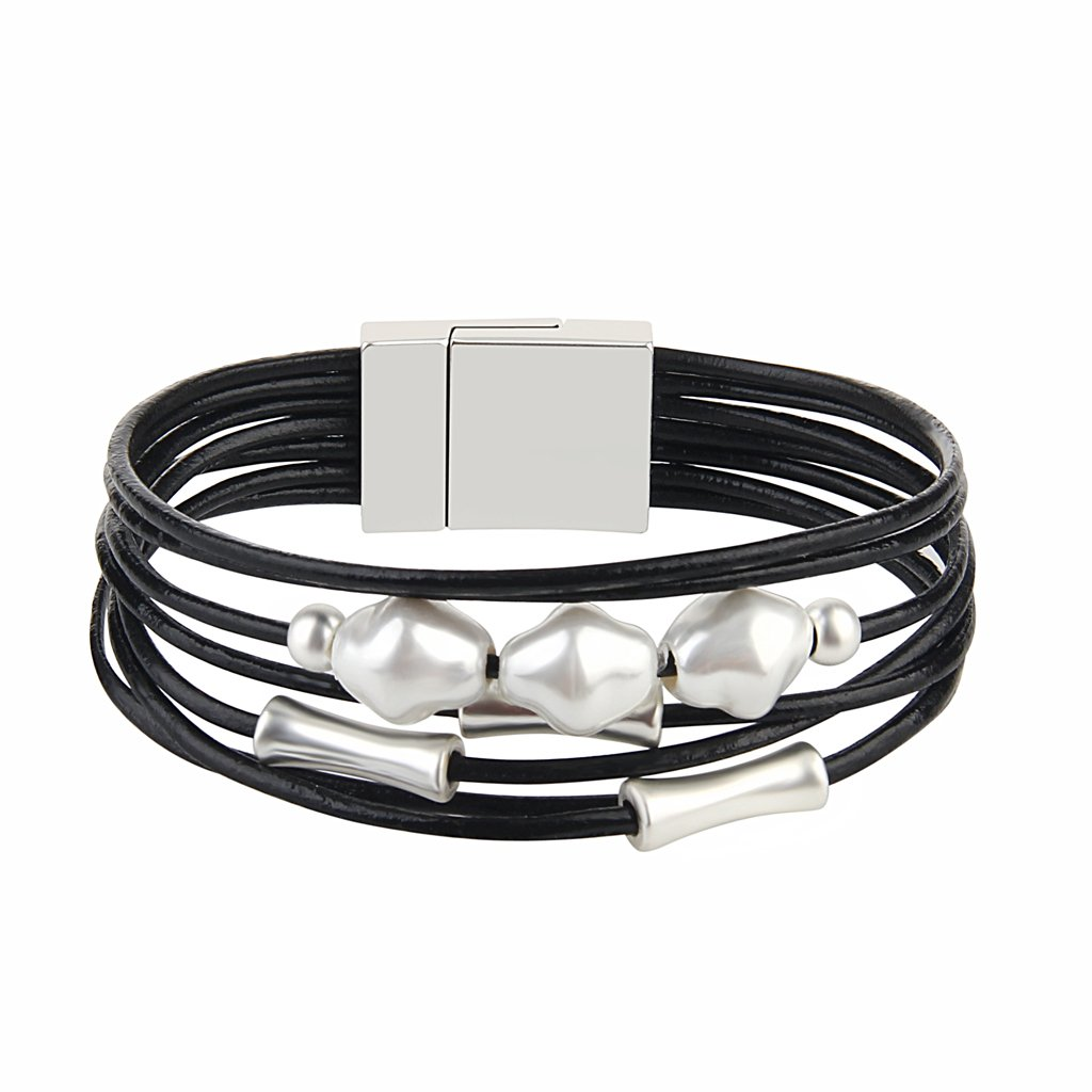 Jenia Black Leather Wrap Bracelet - Pearl Rope Braided Multi-Strand Bangle - Handmade Jewelry for Women, Teens Girl Gift