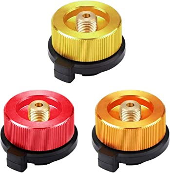 3 Piezas Adaptador de la Estufa de Gas Boquilla Conector Adaptador de botella de gas para Cartucho de butano para atornillar Cartucho de Gas
