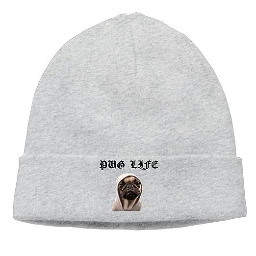 Amazon.com  GJdd diy Unisex Pug Life Beanie Cap Hat Ski Hat Caps Hip-hop Hat   Clothing d95bcc91df4