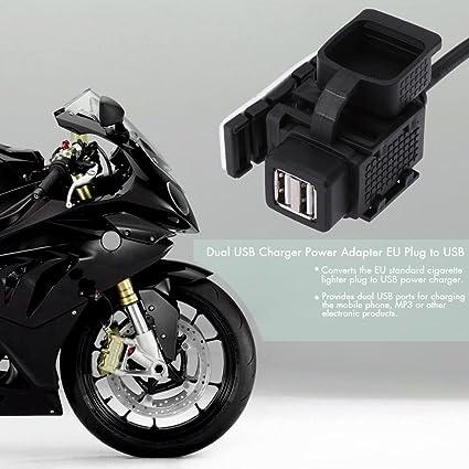 Adaptador KKmoon y cargador de energía Dual con USB de la UE, encendedor estándar para cigarrillo a USB para BMW, motocicleta 1 A 1.1 A