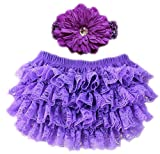 October Elf Baby Girl's Briefs Lace Ruffle Bloomer and Headband Diaper Cover (L(12-24M), Purple)