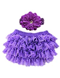 October Elf Baby Girls Diaper Covers Lace Ruffle Baby Bloomers Headband Set