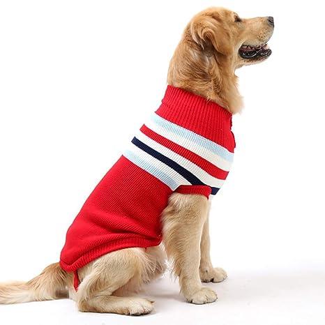 Petyoung Chaleco para Perro a Rayas cálido de Lana Suave para Tejer suéteres de Invierno de Punto de Ganchillo Abrigo Ropa para Perros pequeños y ...