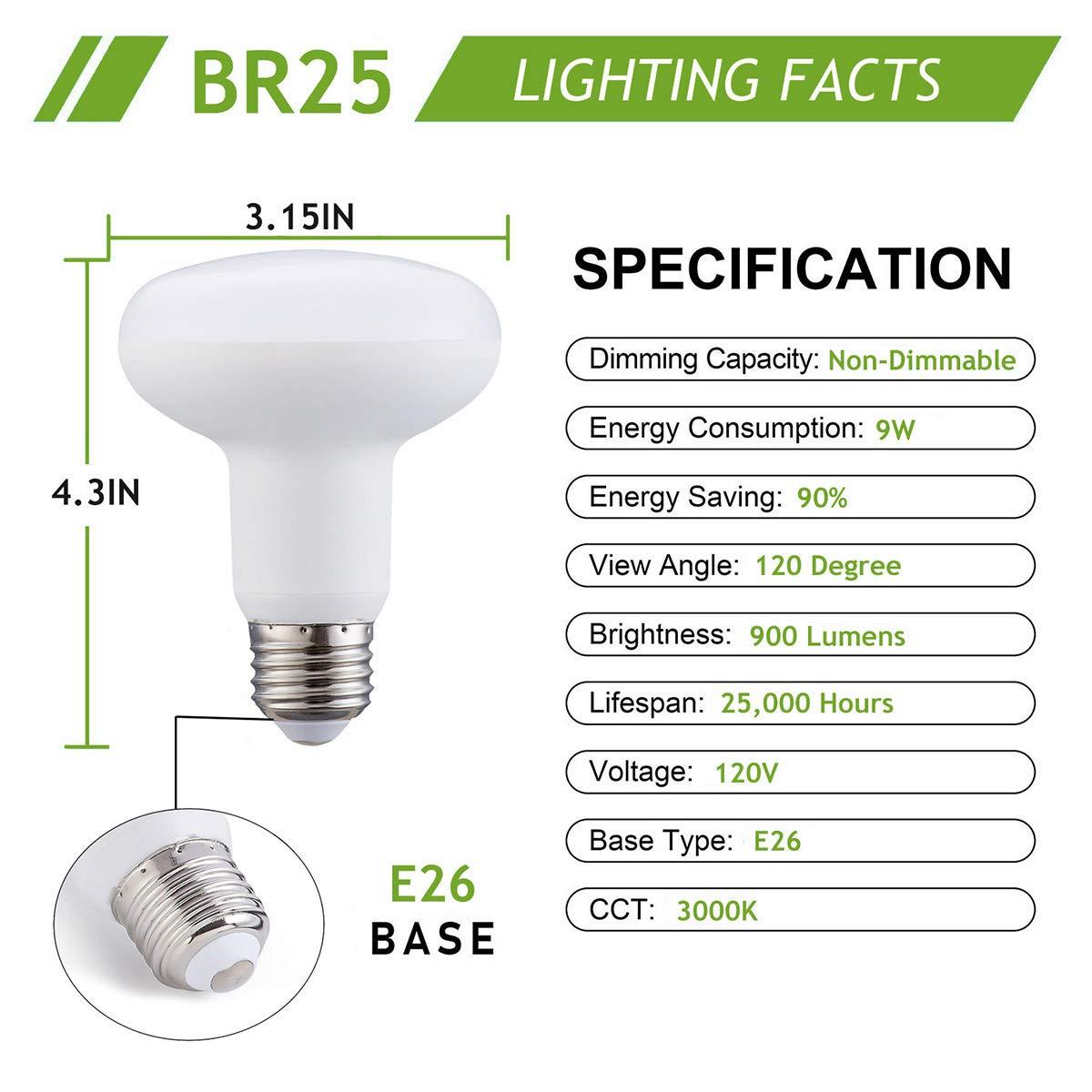 BR25 LED Flood Light Bulb Not Dimmable 5000K Daylight LED Bulbs 6 Pack 100 Watt Halogen Bulb Equivalent R25 LED Lamp 9W ,E26 Medium Base,120 Volt,900 Lumen Frosted White LED Recessed Lighting Bulb