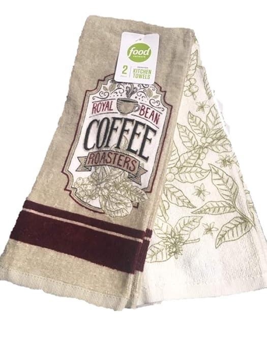 Food Network Kitchen Towels Set of 2 Royal Bean Coffee Roasters