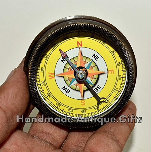Nautical World Antique Brass Compass Open FACE Gift for Men & Woman Steampunk Navigation 5