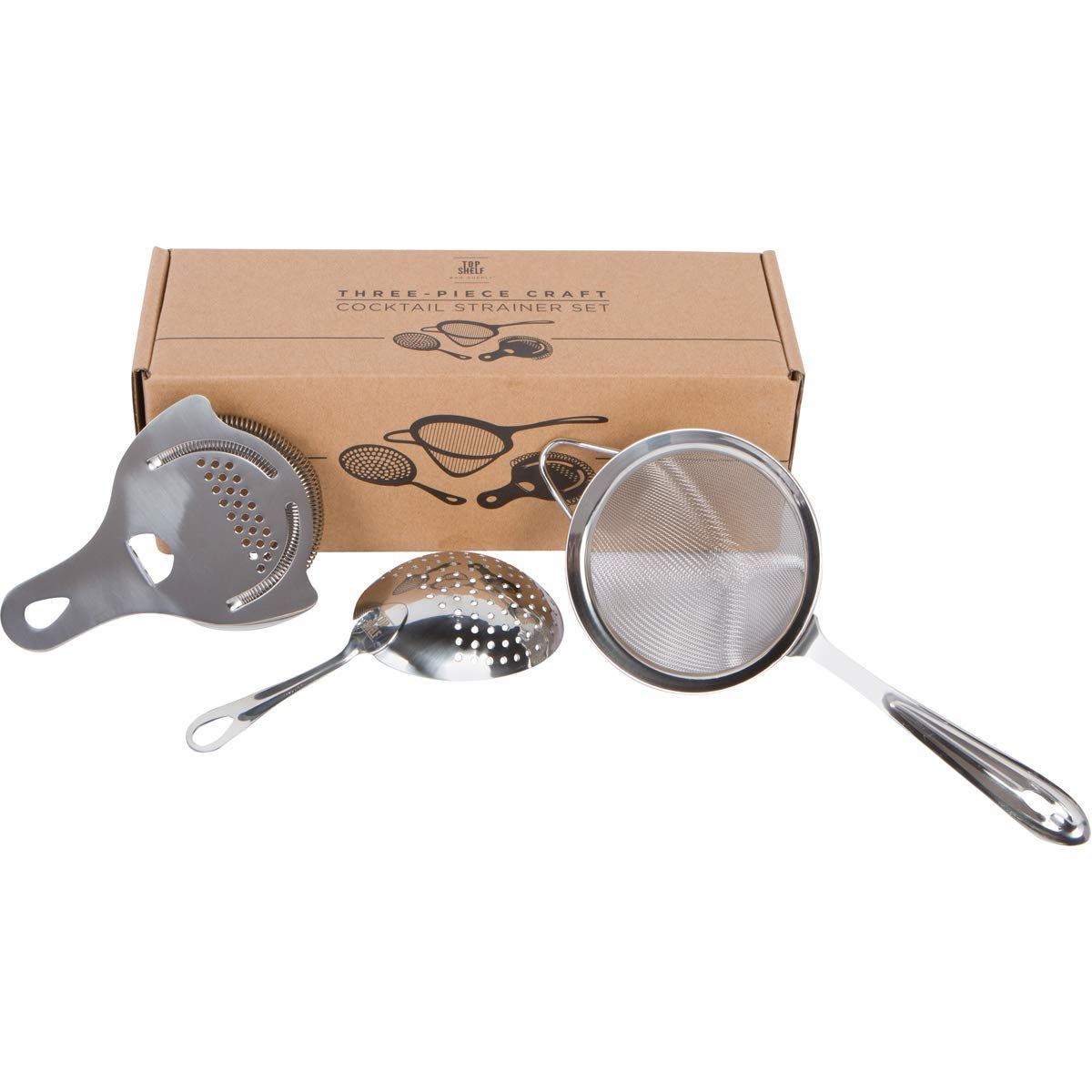 Cocktail Strainer Set: Stainless Steel Hawthorne Strainer, Julep Strainer and Conical Fine-Mesh Strainer by Top Shelf Bar Supply by Top Shelf Bar Supply
