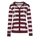 Women's Striped Hooded Sweater, Duseedik Ladies