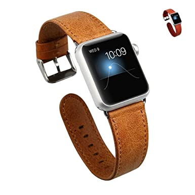 5a83065ee1ff16 JISONCASE Leather Strap for iWatch 38mm(40mm), Premium Handmade Real Leather  Wrist Strap