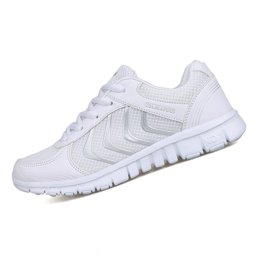 White Alicegana Women's Breathable Mesh Tennis Athletic Fashion Sneakers Walking Sports Road Running shoes Plus Size