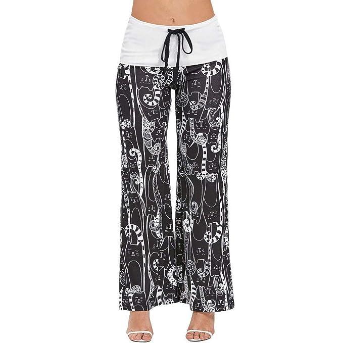 Mujeres Gato Estampado Cordón De Cintura Ancha Mujeres Alta Casuales Pierna Pantalones Sueltos Largos Pantalón De Yoga Pierna Ancha Pantalones Sueltos ...