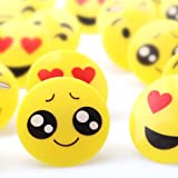 Amy&Benton 60PCS Emoji Cupcake Rings for Kids, Emoticon Party Favor Rings for Birthday, Plastic Rings for Boys and Girls,1.38 Inches