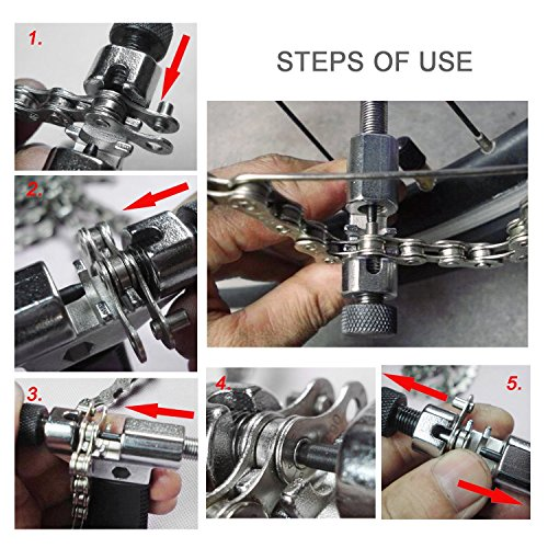 SABLUE Bicycle Bike Chain Checker + Universal Bicycle Chain Tool with Chain Hook + Free LED Flashlight, Both for Road Mountain Folding Bicycle Remove and Install Chain Splitter Cutter Breaker