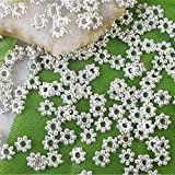 Femitu 1000PCS Of Silver plated metal daisy spacer beads 4mm