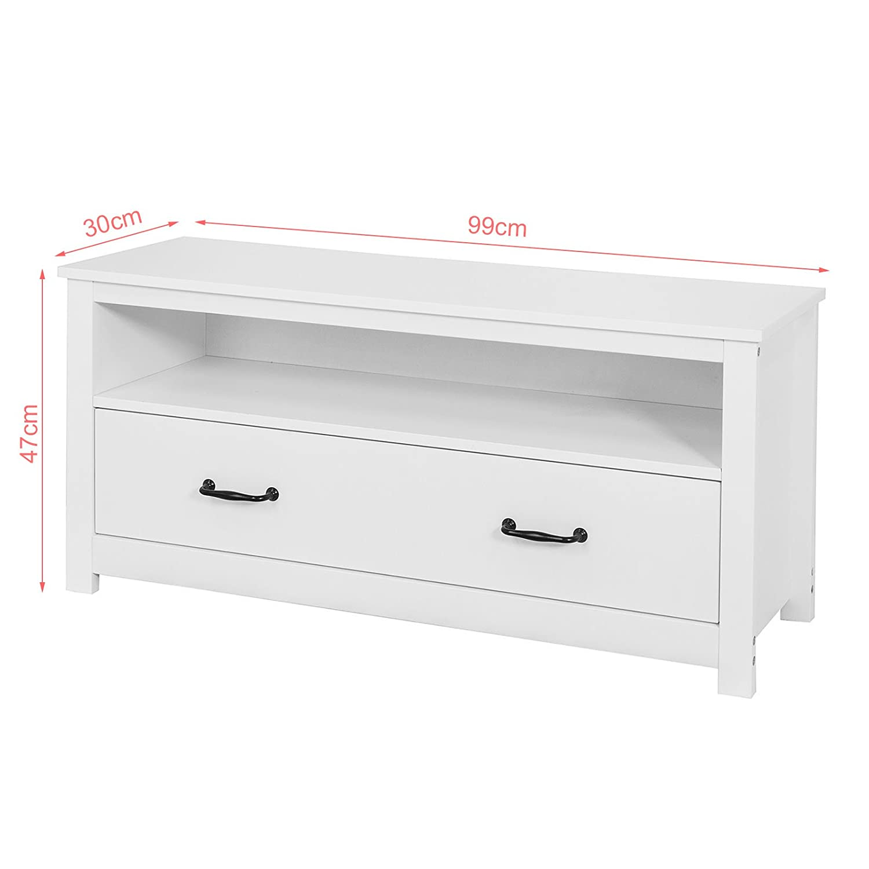SoBuy/® Scarpiera da ingresso Cassapanca,Portascarpe con grande cassetto,bianco,FSR48-W,IT