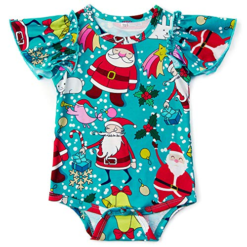 Leapparel Newborn Unisex Baby Creeper Clothes Blue Bodysuit Christmas Costumes Jumpsuit Santa Claus Print Rompers Size 8